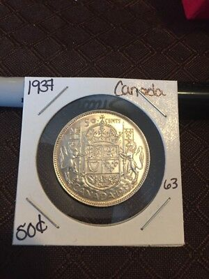 1937 Canada Very High Grade Half Dollar Lot 63