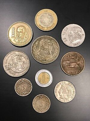 Mixed Lot of 10, Vintage Mexican Coins, including 1958 Silver Peso
