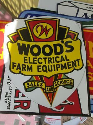 woods electrical equipment sign farm sign tractor sign porcelain sign