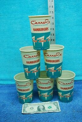 6 pc 1960 Vintage Carrol's Hamburgers Sweetheart Cups Baltimore Md Burger King