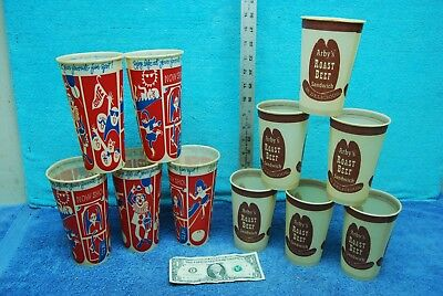 11 pc Lot~ Arby's Roast Beef Sandwhich Cups Movies,Bowling etc Sweetheart Cups!