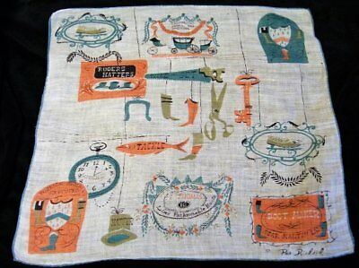Imperfect Vintage Pat Prichard COLONIAL STORE Handkerchief~No. 1197