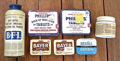 Vintage Health Medical Tins  Lot of 7 Bayer BFI Phillips Iodex Rexall