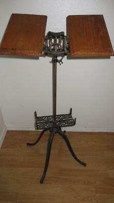 Antique 1895 Adjustable Cast Iron & Oak Bible Dictionary Book Music Stand Holder