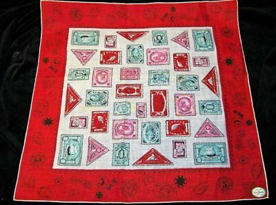 Vintage WITH TAGS Carol Stanley Postage Stamps Around World Handkerchief~No 1191