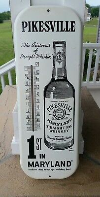 Vintage Pikesville Maryland Straight Rye Whiskey Metal Thermometer Baltimore MD