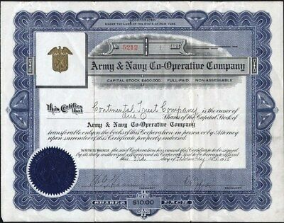 Army & Navy Co - Operative Co, Ny 1915 Uncancelled Stock Certificate