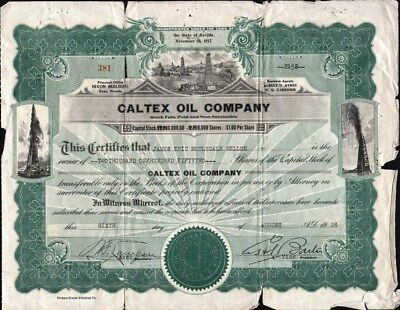Caltex Oil Co Of Nevada, 1928, Uncancelled Stock Certificate (Poor Condition)