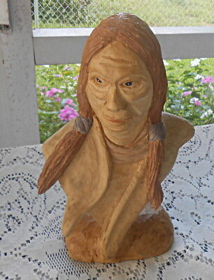 VTG Hand Carved Wooden Native American Indian Head Bust Statue Folk Art