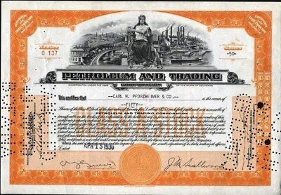 Petroleum And Trading Corp., 1930, Security Bank Note Co Very Different Vignette