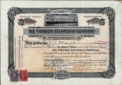 Pioneer Steamship Co, Mentor Dist., Lake County, Ohio, 1916 Stock Certificate