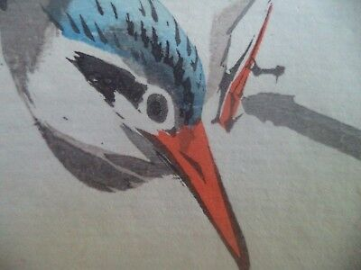 Birds and Flowers #2 -SEIHO Fisher- Antique Japanese Woodblock Print Art
