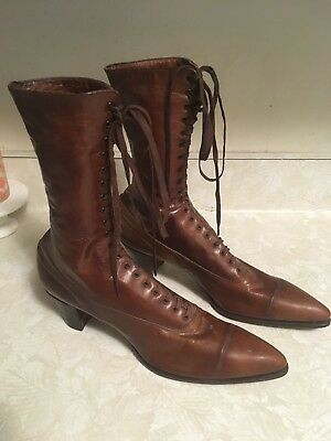 Antique Victorian Brown Leather Lace Up Boots Queen Quality AMAZING