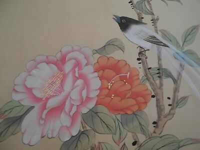2 vintage Asian silk paintings of long tailed birds and flowers in folder