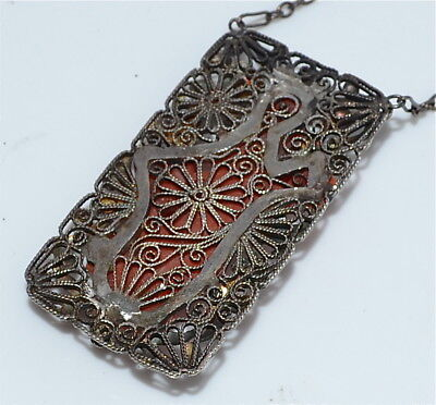 Antique Chinese Carved Coral Quanyin Kwan-yin Enameled Silver Pendant Necklace