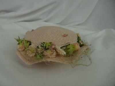 Vintage Girls Pink Woven Hat with net and flowers- 1950's