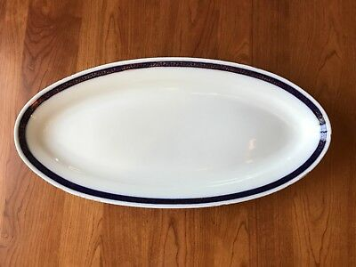 "Large Gilded Kuznetsov Flow Blue Porcelain Oval Platter 23""x11"" Great Condition"
