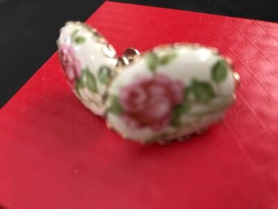 Antique Gold Tone Porcelin Hand Painted Pink Roses Earrings Romantic