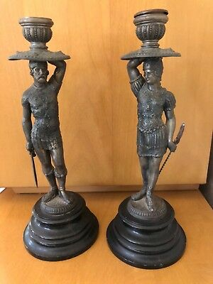 """A pair of Italian figural bronze candlesticks late 19th century 10.5"""""""