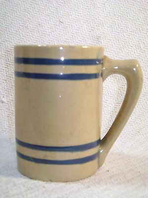 Vintage Antique Yellow Ware Blue Band Mug
