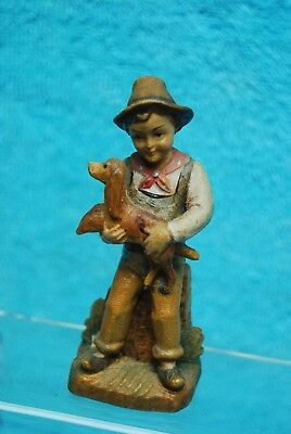 Antique Hand Carved Wooden Miniature German Boy with Dog Figurine