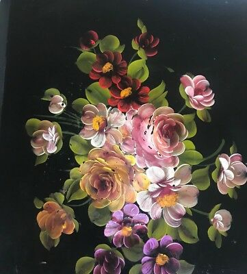 Vintage Black Metal Tole Hand Painted Tray Flowers 22X16 Philadelphia