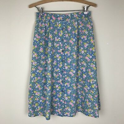 Vintage Girls Size 14 Blue Floral Button Up Midi Skirt w/ Pockets