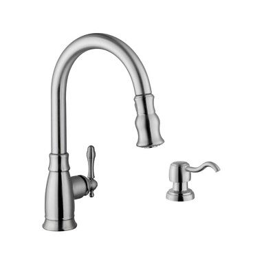 FAUCET BRUSHED NICKEL Single Handle Pull Down Sprayer Kitchen Soap Dispenser NEW