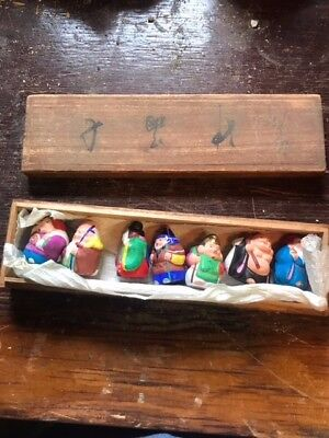 Japanese 7 lucky gods figurines in wooden box 1940's