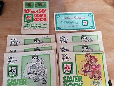 S&H Green Stamps Quick Saver Booklets, Award Certificate 10's & 50's book Filled