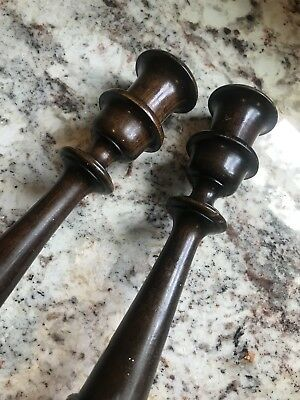 """Antique Pair Turn Wood Walnut Candlesticks Candle Holders Patina 10"""""""