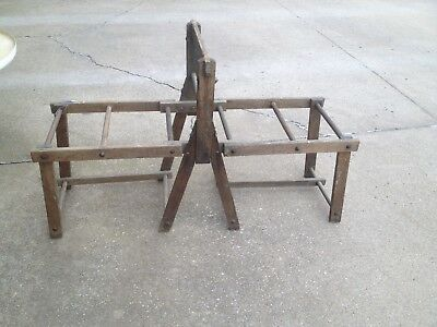 Antique Primitive Vintage Wood Wringer Folding Wood Wash Tub Stand Wash