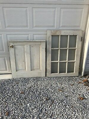 Vintage Country Dutch Door 9 Panes Glass Wood Barn Architectural Salvage