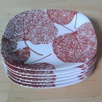 6 Salad Plates, POPLAR by Block, 7-5/8 INCHES, Burgundy/White, Rounded Square