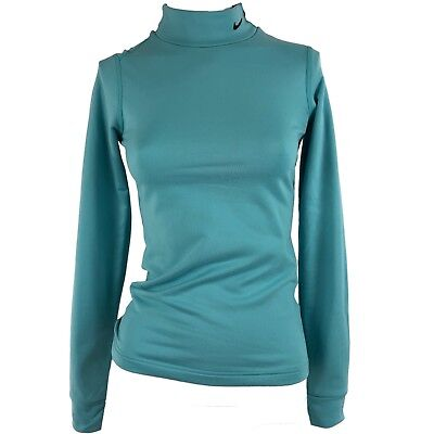 Nike Fit Dry Womens Size XS 0-2 Mock Neck Compression Shirt Fleece Long Sleeve