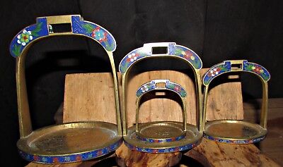 4 antique chinese cloisonne graduated weights