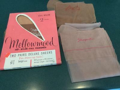 4 Vintage Pair Nylon Stockings W/ Seams Size 9 1/2  (1 Pr Schiaparelli)