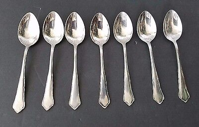 Antique WMF 800 silver 2100 Chippendale Pattern Set of 7 Teaspoons Germany