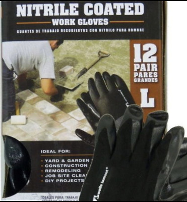 GENUINE Mens Work Gloves Nitrile Coated Large 12 Pairs Free Superfast Shipping!!