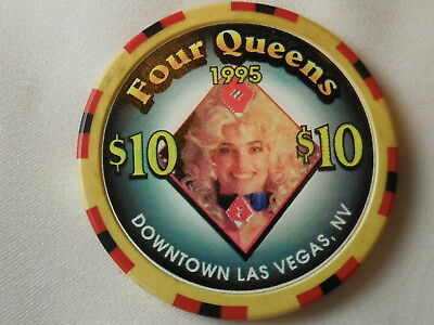 Four Queens Hotel $10.00 Showgirl Diamond Casino Chip Las Vegas Nevada + 3 other