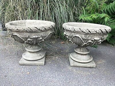 Acanthus Bowl English stoneware pair of urns