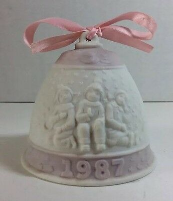 Authentic Vtg Lladro Annual Christmas Bell Ornament 1987 1st In Series Pink