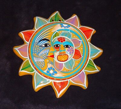 """Vintage Mexican Sun Moon Eclipse Wall Hanging Decor Folk Art Pottery 10"""" Bright"""