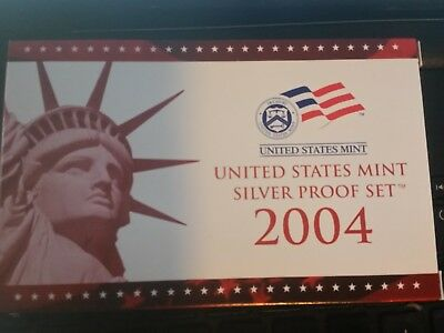 2004 US United States Mint Silver Proof Set w/ State Quarters with box coa