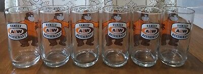 VINTAGE 1970's Family A & W Restaurant BEAR Root Beer Drinking Glasses Set of 6