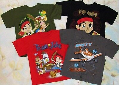Disney Store Boys 2 3 XXS Shirt Jake And The Never Land Pirates Planes Lot of 4