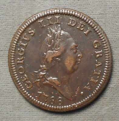 Isle Of Man 1786 One Penny KM-9.1 Copper