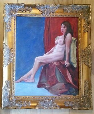 "Signed Sue Connor Painting Canvas Nude Female Woman Portrait 16"" x 20"" Framed"