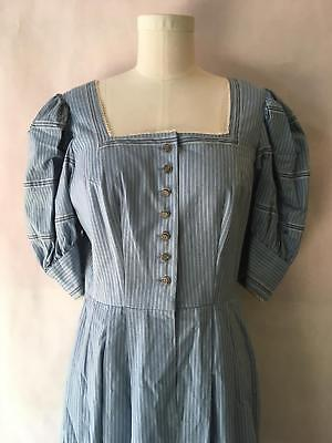 Vintage Kruger Dirndl Berchtesgaden Germany Peasant Dress Striped Size 44