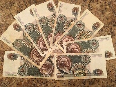 Lot of 8 Russian CCCP 1000 Rubles 1991-1992  Banknotes